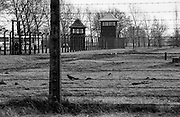 A barbed wire fence surrounds the Auschwitz (Birkenau) Nazi concentration camp. It is estimated that between 1.1 and 1.5 million Jews, Poles, Roma and others were killed here in the Holocaust between 1940-1945.