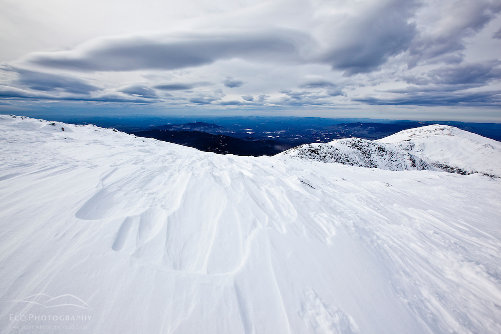 Sculpted snow near the summit of Mount Washington in New Hampshire's White Mountains. Winter.