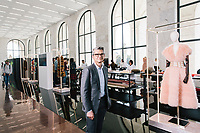 """ROME, ITALY - 15 OCTOBER 2018: FENDI CEO Serge Brunschwig poses for a portrait during the LVMH Journées Particulières exhibition at the Fendi headquarters in Rome, Italy, on October 15th 2018.<br /> <br /> The LVMH Journées Particulières is is a series of exhibitions that show the creations and history of the LVMH fashion houses. The driving theme behind the Journées Particulières is to allow the general public to discover the inner workings of the Houses which are part of the LVMH heritage.The LVMH Journées Particulières exhibition by fashion house FENDI takes place at their headquarters at the Palazzo della Civiltà Italiana, also called the """"Colosseo Quadrato"""" (Square Colosseum),  an outstanding jewel of the 20th century Roman architecture."""