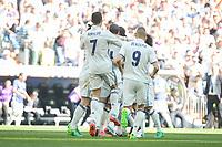 Real Madrid's Gareth Bale, Cristiano Ronaldo and Karim Benzema celebrating a goal during La Liga match between Real Madrid and Atletico de Madrid at Santiago Bernabeu Stadium in Madrid, April 08, 2017. Spain.<br /> (ALTERPHOTOS/BorjaB.Hojas)