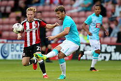 Chris Martin of Derby County and Mark Duffy of Sheffield United - Mandatory by-line: Matt McNulty/JMP - 27/07/2016 - FOOTBALL - Bramall Lane - Sheffield, England - Sheffield United v Derby County - Pre-season friendly