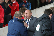 John Coleman, Manager of Accrington Stanley and Mansfield Town manager Steve Evans during the EFL Sky Bet League 2 match between Accrington Stanley and Mansfield Town at the Fraser Eagle Stadium, Accrington, England on 19 August 2017. Photo by John Potts.