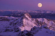 Mt.Altmann and Full Moon, View from Mount Saentis, Swiss Alps, Appenzell Canton, Switzerland