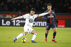 Rennes's Clement Grenier during the Ligue 1 Paris Saint-Germain (PSG) v Stade Rennais FC football match at the Parc des Princes stadium, in Paris, France on January 27, 2019. PSG won 4-1. Photo by Henri SzwarcABACAPRESS.COM