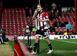 Lasse Vibe of Brentford celebrates scoring his second and his sides third goal - Mandatory by-line: Robbie Stephenson/JMP - 05/04/2016 - FOOTBALL - Griffin Park - Brentford, England - Brentford v Bolton Wanderers - Sky Bet Championship