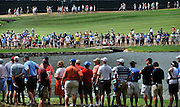 Jul 29, 2016; Springfield, NJ, USA; The crowd of spectators along the fourth and eighteenth holes during the second round of the 2016 PGA Championship golf tournament at Baltusrol GC - Lower Course. Mandatory Credit: Eric Sucar-USA TODAY Sports