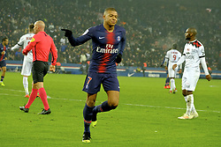 January 19, 2019 - Paris, Ile de France, France - Joy of Paris SG Forward KYLIAN MBAPPE after his goal during the French championship League 1 Conforama match Paris SG against EA Guingamp at the Parc des Princes Stadium in Paris - France..Paris SG won 9-0 (Credit Image: © Pierre Stevenin/ZUMA Wire)