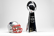 Detailed view of  New England Patriots helmet and Vince Lombardi Trophy, annually awarded to the winner of the Super Bowl.