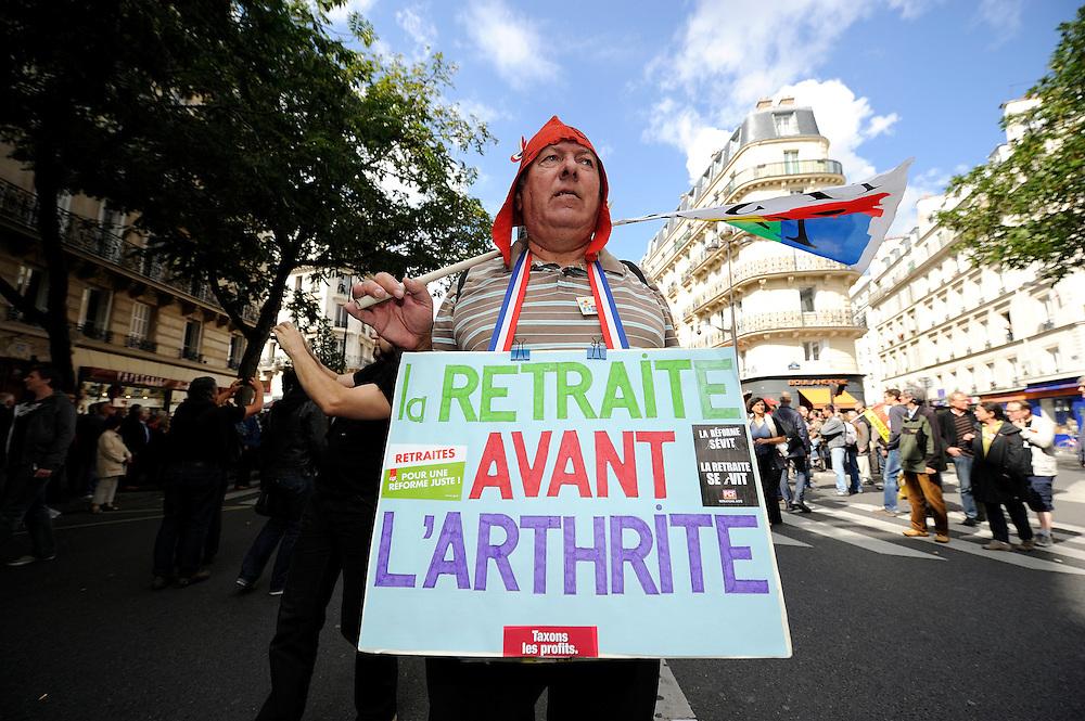 Manifestation contre le projet de réforme des retraites, le 09 octobre 2013 à Paris.