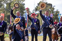 VON STEIN Georg (GER), SANDMANN Anna (GER), BRAUCHLE Michael (GER)<br /> Donaueschingen - CHI mit Europameisterschaft Gespannfahren 2019<br /> Siegerehrungen<br /> Four-in-hand horses Driving European Championship<br /> Viererzug Europameisterschaft<br /> 18. August 2019<br /> © www.sportfotos-lafrentz.de/