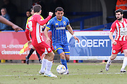 Andy Barcham of AFC Wimbledon goes on a run during the Sky Bet League 2 match between AFC Wimbledon and Accrington Stanley at the Cherry Red Records Stadium, Kingston, England on 5 March 2016. Photo by Stuart Butcher.