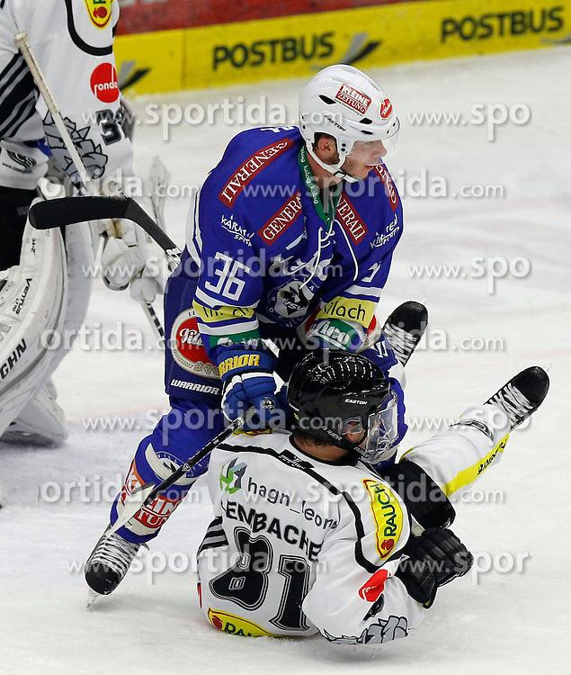 13.11. 2013, Stadthalle, Villach, AUT, EBEL, EC VSV vs Dornbirner EC, 34. Runde, im Bild Marco Pewal (VSV,#36) und Robert Lembacher (Dornbirn,#81) // during the Erste Bank Icehockey League 34th round between EC VSV vs Dornbirner EC, at the City Hall, Villach, Austria, 2013/11/13, EXPA Pictures © 2013, PhotoCredit: EXPA/ Oskar Hoeher