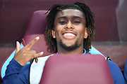 Big smile and horns from Everton forward Alex Iwobi (17) during the Premier League match between Aston Villa and Everton at Villa Park, Birmingham, England on 23 August 2019.
