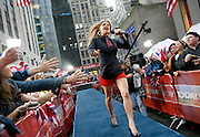 "Fergie from the Black Eyed Peas performs on NBC's ""Today"" show, Friday, Sept. 15, 2006,  in New York's Rockefeller Center.  Fergie's first solo album ""The Dutchess"" will be in stores Tuesday,Sept. 19. (AP Photo/Diane Bondareff)"