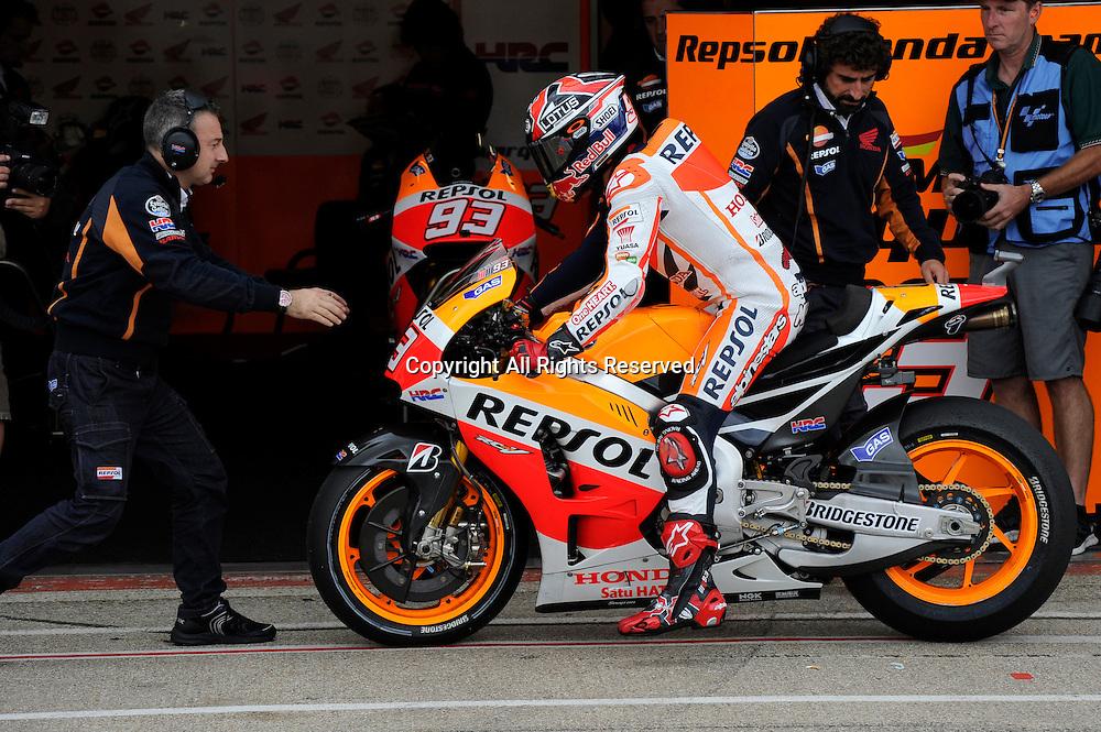 29.08.2014.  Silverstone, England. MotoGP. British Grand Prix.Marc Marquez (Repsol Honda Team) during the free practice sessions.