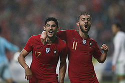 June 7, 2018 - Lisbon, Portugal - Portugal's forward Goncalo Guedes  (L) celebrates his goal with Portugal's midfielder Bernardo Silva (R)  during the FIFA World Cup Russia 2018 preparation match between Portugal vs Algeria in Lisbon on June 7, 2018. (Credit Image: © Carlos Palma/NurPhoto via ZUMA Press)
