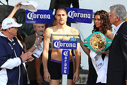 "November 26, 2011; Mexico City, Mexico;  Kermit Cintron weigh's in for his 12 round bout against Saul ""Canelo"" Alvarez at the Plaza de Toros Bullring in Mexico City."