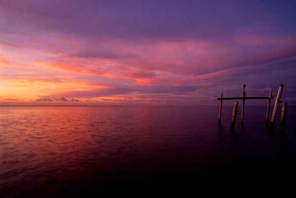 Colorful sunset over Galveston Bay