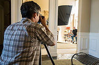 Tim McGuire making a portrait of Paul and Florence Stahura for Purdue University, Sammamish, Washington. Photo by Arthur Ross.