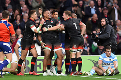 Nathan Hughes of England is congratulated on his first half try - Mandatory byline: Patrick Khachfe/JMP - 07966 386802 - 11/11/2017 - RUGBY UNION - Twickenham Stadium - London, England - England v Argentina - Old Mutual Wealth Series International