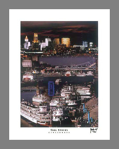 Custom printed, signed, and numbered 19x24 poster collage of the first Tall Stacks festival in 1988.  A copy of this image is held within Cincinnati's bicentennial time capsule, which will be opened in 2088.