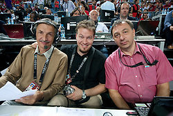 Miha Zibrat, Miha Misic and Mile Jovanovic of TV Slovenija during the finals basketball match between National teams of Turkey and USA at 2010 FIBA World Championships on September 12, 2010 at the Sinan Erdem Dome in Istanbul, Turkey.  USA defeated Turkey 81 - 64 and became World Champion 2010. (Photo By Vid Ponikvar / Sportida.com)