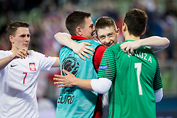 Players of team Poland celebrate during futsal match between Russia and Poland at Day 1 of UEFA Futsal EURO 2018, on January 30, 2018 in Arena Stozice, Ljubljana, Slovenia. Photo by Urban Urbanc / Sportida