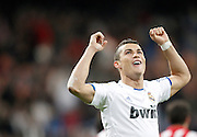 Real Madrid's Cristiano Ronaldo celebrates during La Liga match. November 20, 2010.