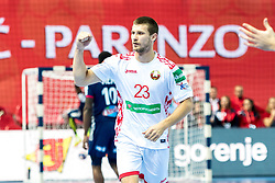 16.01.2018, Zatika Sport Centre, Porec, CRO, EHF EM, Herren, Frankreich vs Weissrussland, Gruppe B, im Bild Andrei Yurynok (BLR) // during the preliminary round, group B match of the EHF men' s Handball European Championship between France and Belarus at the Zatika Sport Centre in Porec, Croatia on 2018/01/16. EXPA Pictures © 2018, PhotoCredit: EXPA/ Sebastian Pucher