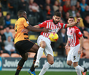 Barnet striker John Akinde & Exeter City defender Danny Butterfield battle for possession during the Sky Bet League 2 match between Barnet and Exeter City at The Hive Stadium, London, England on 31 October 2015. Photo by Bennett Dean.