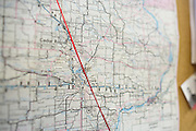 A map in the transportation office at Solon Community Schools in Solon, Iowa on Tuesday, March 8, 2016. Solon is along the red line, midway between Cedar Rapids and Iowa City.