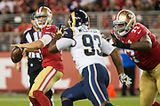 San Francisco 49ers quarterback Blaine Gabbert (2) looks for a receiver against the Los Angeles Rams at Levi's Stadium in Santa Clara, Calif., on September 12, 2016. (Stan Olszewski/Special to S.F. Examiner)