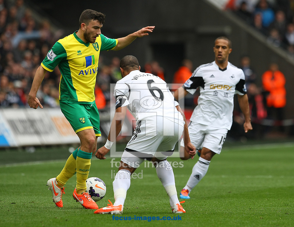 Robert Snodgrass of Norwich and Ashley Williams of Swansea in action during the Barclays Premier League match at the Liberty Stadium, Swansea<br /> Picture by Paul Chesterton/Focus Images Ltd +44 7904 640267<br /> 29/03/2014