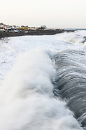 Waves in a heavy sirocco storm at the beach of Stromboli, Liparic Islands, Italy