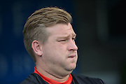 MK Dons manager Karl Robinson during the Sky Bet Championship match between Reading and Milton Keynes Dons at the Madejski Stadium, Reading, England on 22 August 2015. Photo by Mark Davies.