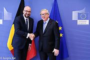 Brussels , 16/03/2018<br /> President Jean-Claude Juncker receives Charles Michel, Prime Minister of Belgium .<br /> Pix : Charles Michel, Jean-Claude Juncker<br /> Credit : Sebastien Pirlet / Isopix