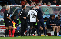 Peterborough United Manager Grant McCann gives Leonardo Da Silva Lopes a pat on the head as he is substituted - Mandatory by-line: Joe Dent/JMP - 21/10/2017 - FOOTBALL - Glanford Park - Scunthorpe, England - Scunthorpe United v Peterborough United - Sky Bet League One