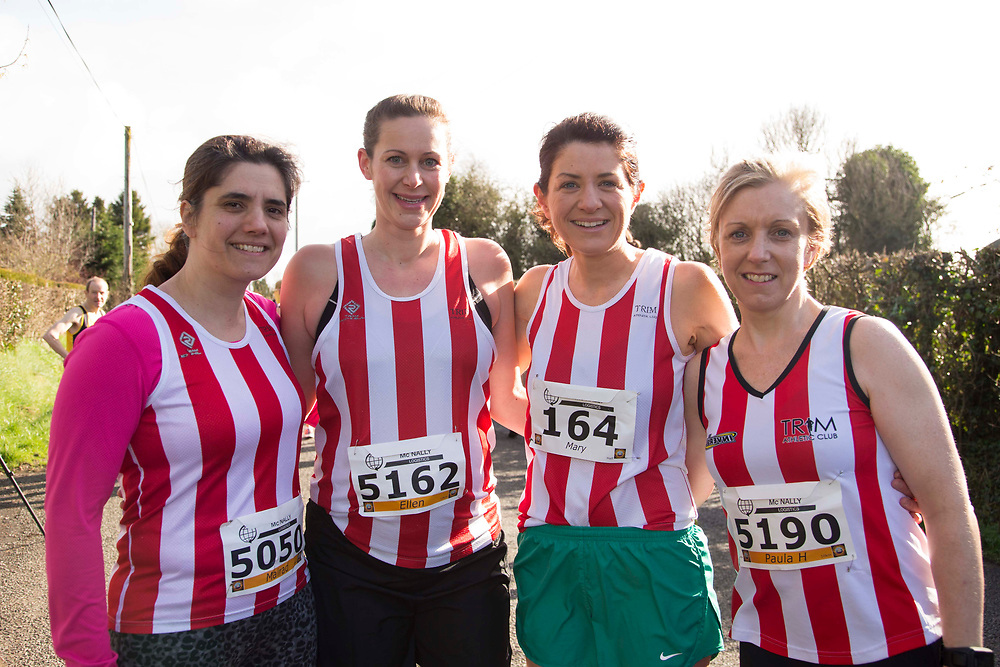 12/03/2017, Bohermeen AC 10k road Race &amp; Half Marathon<br /> Trim ladies pictured at the event, L-R, Mairead Heffernan, Ellen Bitting, Mary Carr &amp; Paula Hegerty<br /> <br /> Photo: David Mullen / www.quirke.ie &copy;John Quirke Photography, Unit 17, Blackcastle Shopping Cte. Navan. Co. Meath. 046-9079044 / 087-2579454.<br /> ISO: 250; Shutter: 1/250; Aperture: 7.1; <br /> File Size: 2.5MB<br /> Actuations: