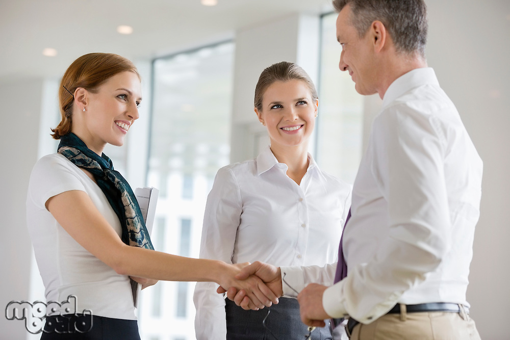 Happy business partners shaking hands in office