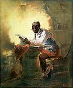 African American man reading a newpaper with the headline 'Presidential Proclamation, Slavery' which refers to President Lincoln's  Emancipation Proclamation of January 1863. Watercolour by Henry Louis Stephens (1824-1882).