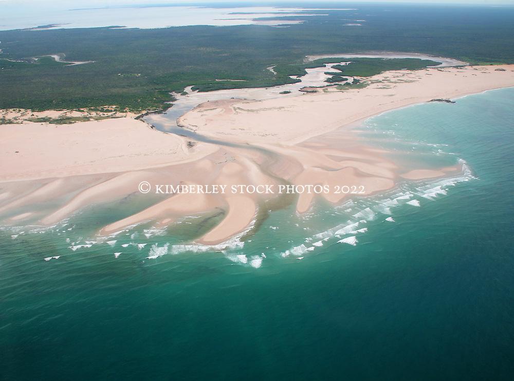 Sandbanks emerge at low tide on the Dampier Peninsula