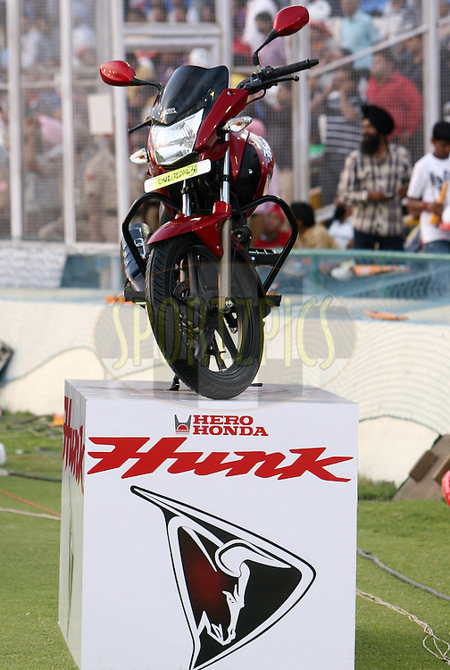 A hero honda bike on display during match 9 of the Indian Premier League ( IPL ) Season 4 between the Kings XI Punjab and the Chennai Super Kings held at the PCA stadium in Mohali, Chandigarh, India on the 13th April 2011..Photo by Money Sharma/BCCI/SPORTZPICS