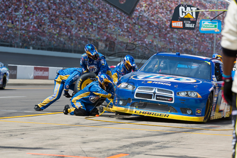 BROOKLYN, MI - JUN 17, 2012:  Brad Keselowski (2) brings in his car for service during the Michigan International Speedway in Brooklyn, MI.