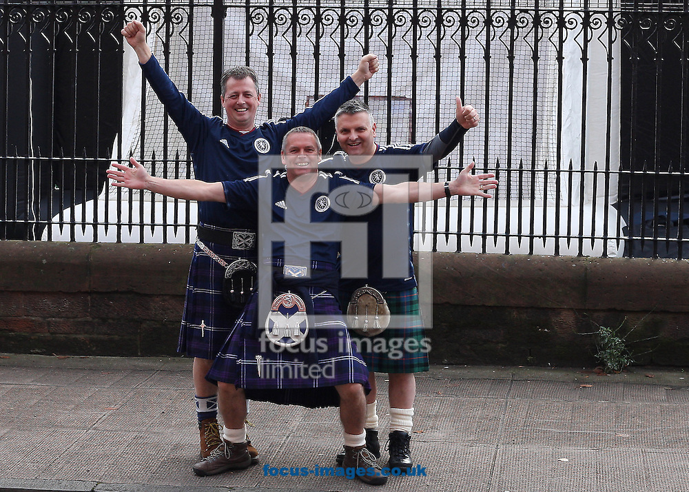 Scotland fans before kick off during the UEFA Euro 2016 Qualifying match at Ibrox Stadium, Glasgow<br /> Picture by Ian Buchan/Focus Images Ltd +44 7895 982640<br /> 11/10/2014