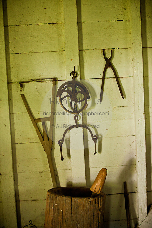 Hand tools once used by slaves on display at Hopsewee Plantation in Georgetown, SC.