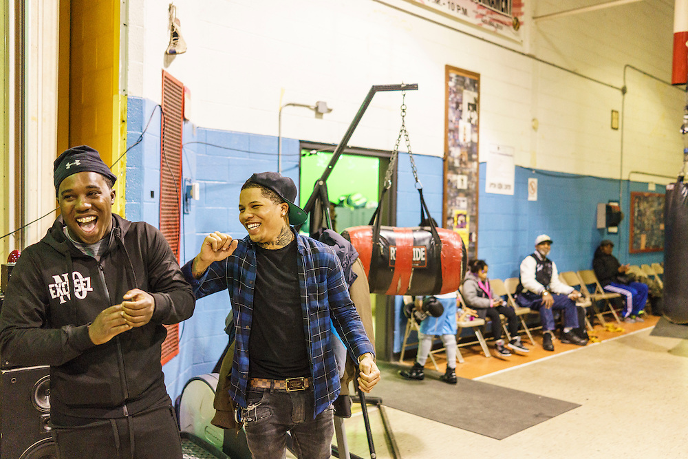 iBaltimore, Maryland - January 26, 2017: Gervonta Davis, right, and his best friend Fiddle Carter, at the Upton Boxing Club in Baltimore Thursday January 26, 2017.<br /> <br /> <br /> CREDIT: Matt Roth for The New York Times<br /> Assignment ID: