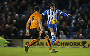 Brighton striker, Tomer Hemed (10) takes on Wolverhampton Wanderers defender Danny Batth (6) during the Sky Bet Championship match between Brighton and Hove Albion and Wolverhampton Wanderers at the American Express Community Stadium, Brighton and Hove, England on 1 January 2016.
