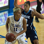 11/11/11 Newark DE: Delaware Junior Forward #11 Elena Delle Donne drive pass a Rhode Island defender during a week one NCAA Women's College basketball game, Friday, Nov. 11, 2011 at the Bob carpenter center in Newark Delaware.<br /> <br /> Delaware would go on to defeat the Rhode Island rams 89-53...Special to The News Journal/SAQUAN STIMPSON