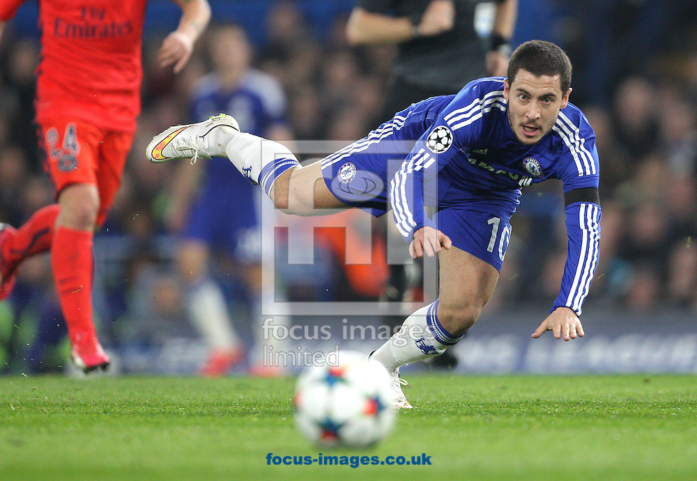 Eden Hazard of Chelsea is challenged by David Luiz of Paris Saint-Germain ( not pictured ) during the UEFA Champions League match at Stamford Bridge, London<br /> Picture by Paul Terry/Focus Images Ltd +44 7545 642257<br /> 11/03/2015