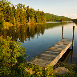 A small dock in Long Pond in new Hampshire's White Mountains.
